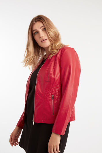 Imitatieleren jasje met ronde halslijn