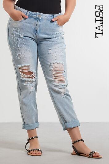 Boyfriend jeans met scheuren