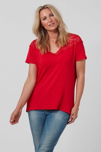 T-shirt met V-hals en kant