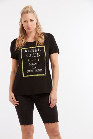 T-shirt met tekstopdruk en kant