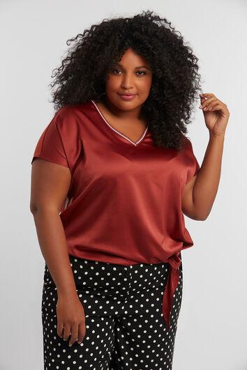 T-shirt met knoopdetail en sportbies