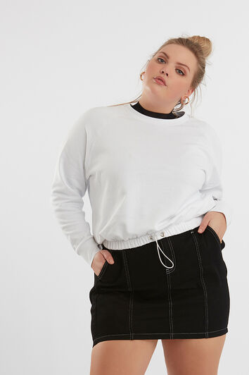 Korte sweater met drawstring