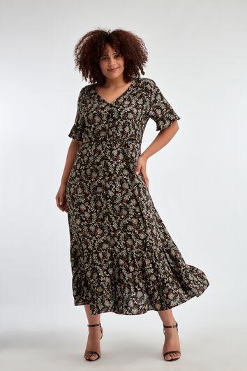 Lange jurk met salie bloemenprint