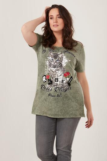 T-shirt met kattenprint