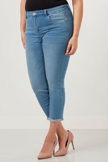 Slim leg jeans met gerafelde rand