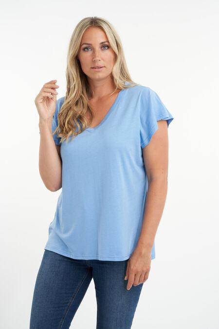 T-shirt met volantmouwen