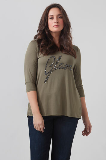 T-shirt met versierde tekstprint