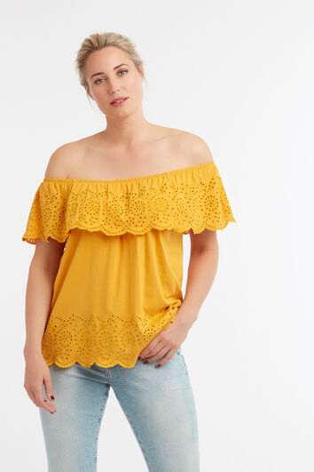 Katoenen off-shoulder top