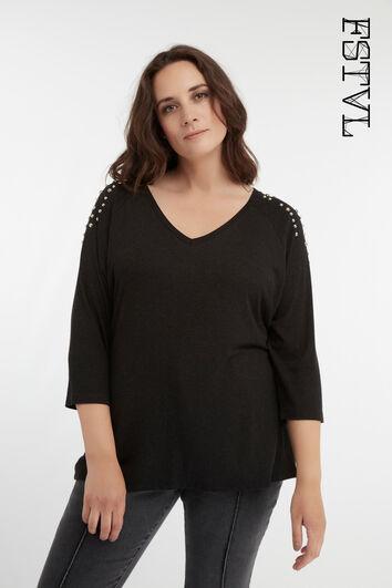 T-shirt met driekwart mouw en studs