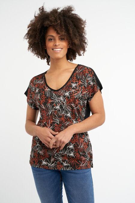 T-shirt met botanische foil print