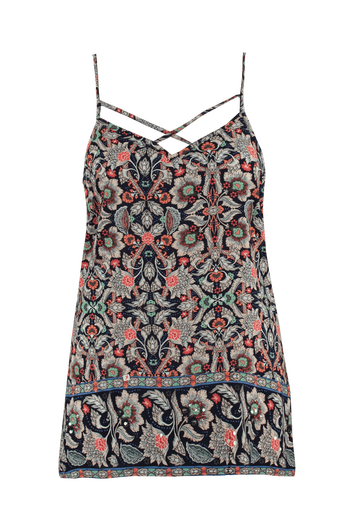 Mouwloze blouse met  all-over print