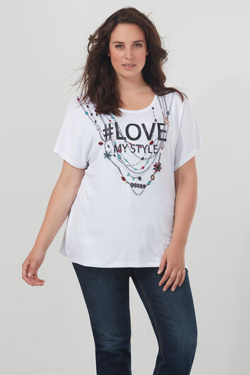 T-shirt met tekst en versiering