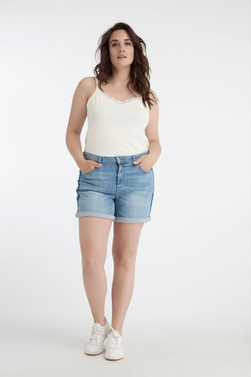 Denim short met contrastbaan