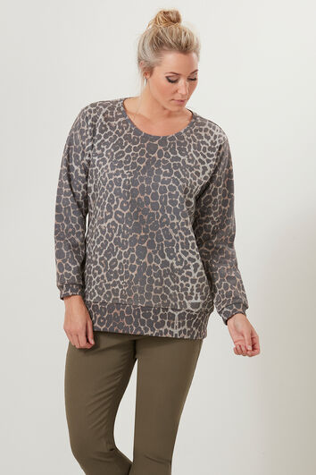 Sweater met all-over print