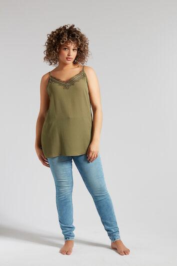 Mouwloze blouse met kant