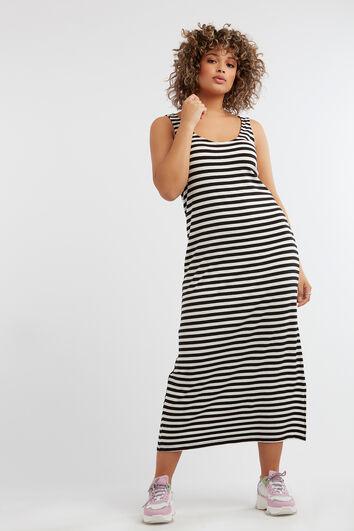 Gestreepte mouwloze jurk