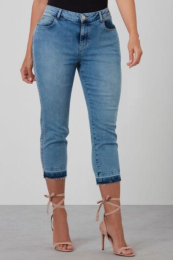 Slim leg jeans met detailrand