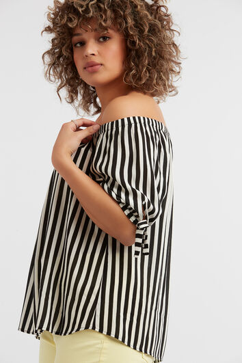 Off-shoulder blouse met streepprint