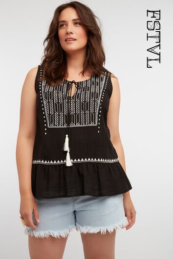 Mouwloze blouse met embroidery