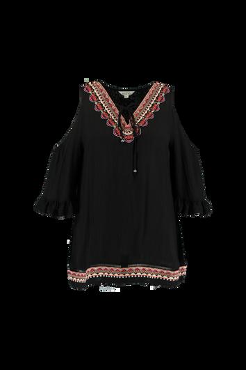 Cold shoulder blouse met borduursel