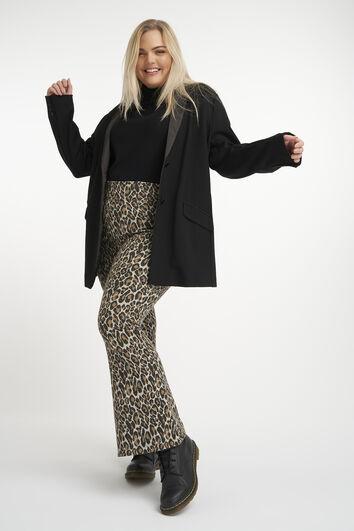 Flared legging met luipaardprint