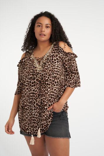 Cold shoulder blouse met luipaardprint