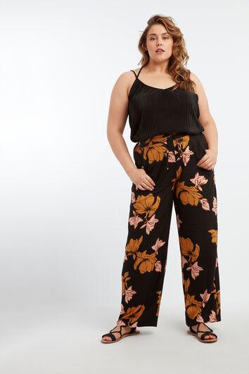 Wijdvallende broek met bloemenprint