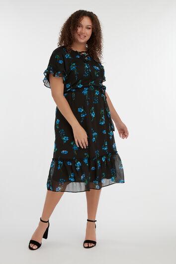 Lange jurk met volants