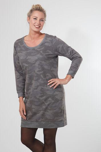 Sweaterjurk in camouflageprint