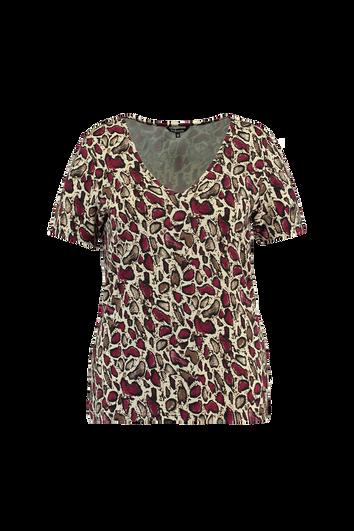 T-shirt met V-hals en print
