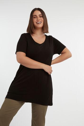 Effen lang T-shirt met rugdetail