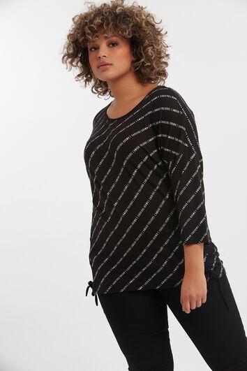 T-shirt met tekst opdruk en veterdetail