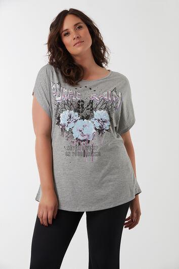 T-shirt met metalen details