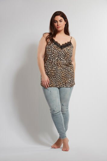 Mouwloze blouse met luipaardprint en kant