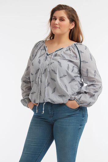 Gestreepte blouse met print
