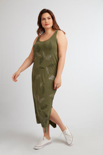 Lange mouwloze jurk