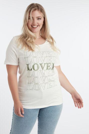 T-shirt met tekst en kraaltjes