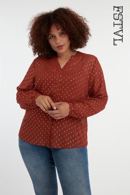 Stippen blouse met lurex details