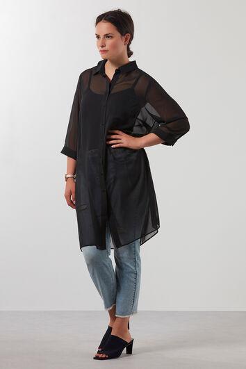 Transparante effen blouse