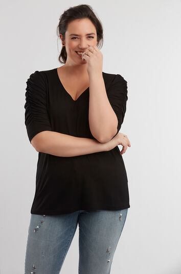 T-shirt met gerimpelde mouwen