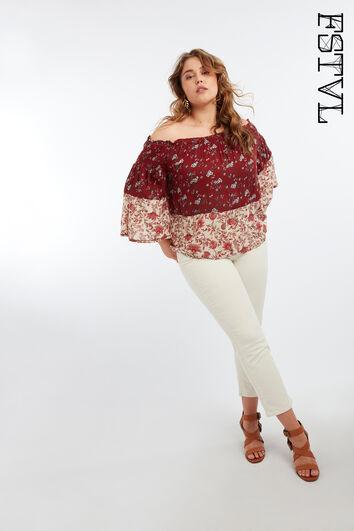 Off-shoulder blouse met printopdruk