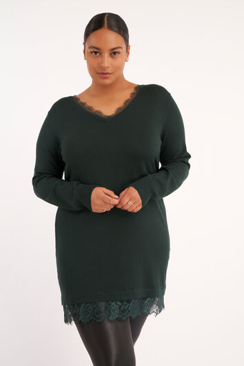 Lange trui met kant